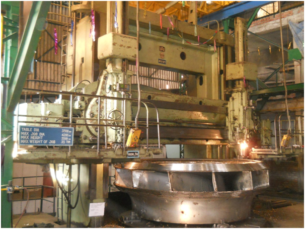 Showing workshop facilities like VTB, Horizontal boring, Lathe and SR furnace. Office building etc.